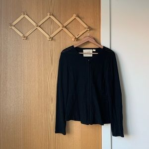 ANTHRO Angel of the North Knit Zip Pointelle Cardi
